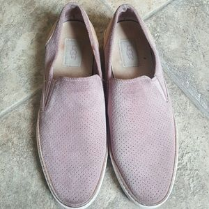 Women's Ugg pink suede slip on sneakers sz 9